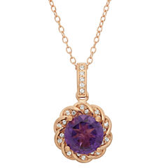 Genuine Amethyst & Lab Created White Sapphire 14K Gold Over Silver Pendant