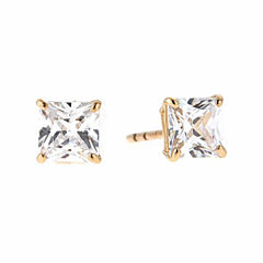 Princess White Cubic Zirconia 14K Gold Stud Earrings