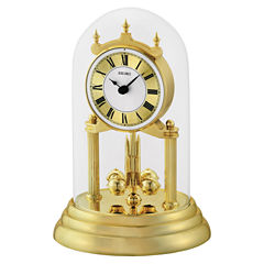 Seiko® Gold-Tone Anniversary Mantel Clock With Glass Dome Qhn006glh