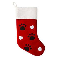 North Pole Trading Co. Christmas Cheer Paw Print Christmas Stocking