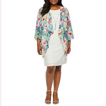93480d61a0c Tiana B Long Sleeve Jacket Dress-Plus. Add To Cart. New. White Multi