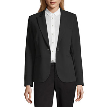 Liz Claiborne One-Button Notch Lapel Blazer