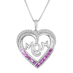 Lab-Created Pink and White Sapphire Mom Heart Pendant Necklace