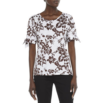 Liz Claiborne Womens Round Neck Short Sleeve Knit Blouse