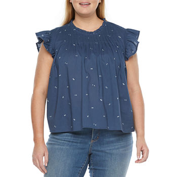 a.n.a-Plus Womens Crew Neck Short Sleeve Blouse