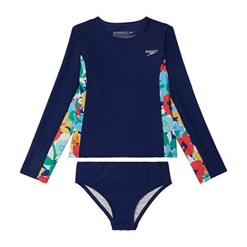 Speedo Little Girls Floral Rash Guard Set