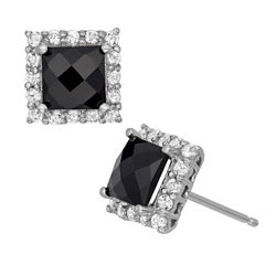 Genuine Black Onyx & Lab-Created White Sapphire Sterling Silver Earrings