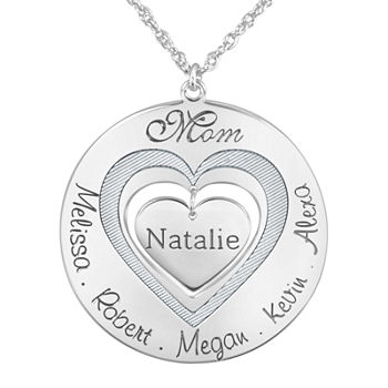 "Personalized ""Mom"" with Child Names around Heart Pendant Necklace"
