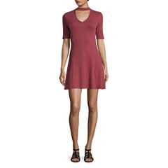 Arizona 3/4 Sleeve Stripe Fit & Flare Dress-Juniors