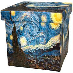 Oriental Furniture Van Gogh Starry Night Footstool