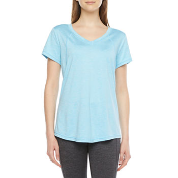 Xersion Womens V Neck Short Sleeve T-Shirt Petite