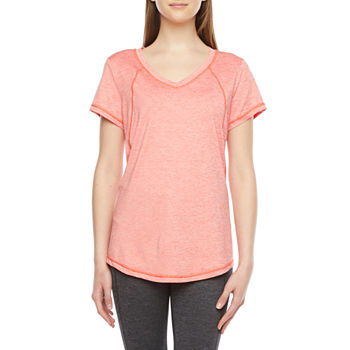 Xersion Everair Womens V Neck Short Sleeve T-Shirt Petite