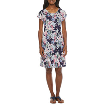 R & K Originals Short Sleeve Floral Fit & Flare Dress