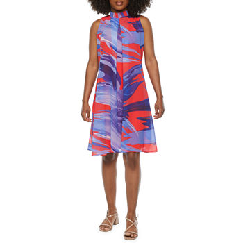 Robbie Bee-Petite Sleeveless Abstract Swing Dresses