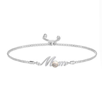 """Mom"" Diamond Accent White Cultured Freshwater Pearl Sterling Silver Bolo Bracelet"