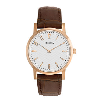 Bulova Classic Mens Brown Leather Strap Watch-97a106