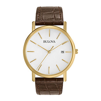 Bulova Classic Mens Brown Leather Strap Watch-97b100