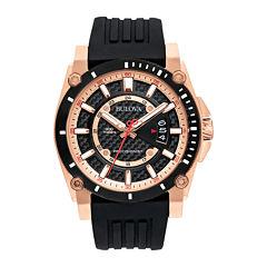 Bulova® Precisionist Mens Black Silicone Strap Watch 98B152