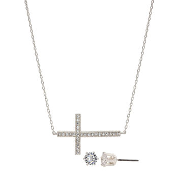 Sparkle Allure 3-pc. Cubic Zirconia Pure Silver Over Brass Cross Jewelry Set