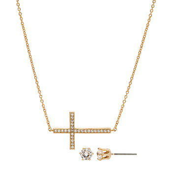 Sparkle Allure 2-pc. Cubic Zirconia 14K Gold Over Brass Cross Jewelry Set