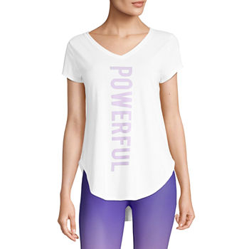 Xersion Womens V Neck Short Sleeve Graphic T-Shirt