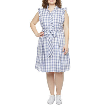 Be by CHETTA B-Plus Sleeveless Plaid Fit & Flare Dress
