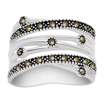 Sparkle Allure Marcasite Pure Silver Over Brass Band