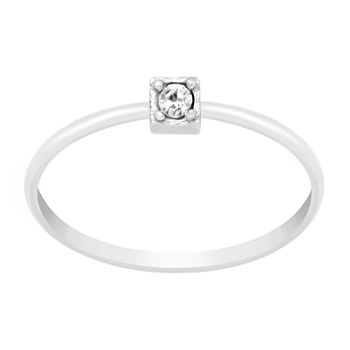 Itsy Bitsy Crystal Sterling Silver Square Band