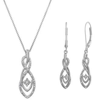 1/10 CT. T.W. Genuine White Diamond 14K Rose Gold Over Silver Sterling Silver Jewelry Set