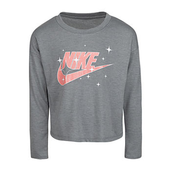 Nike Little Girls Round Neck Long Sleeve Graphic T-Shirt