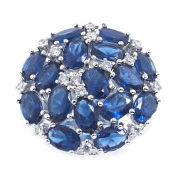 Sparkle Allure Pure Silver Over Brass Blue Crystal and Cubic Zirconia Ring