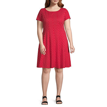 Danny & Nicole-Plus Short Sleeve Polka Dot Fit & Flare Dress