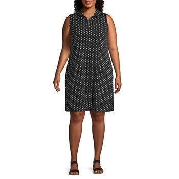 MSK-Plus Sleeveless Polka Dot Shift Dress
