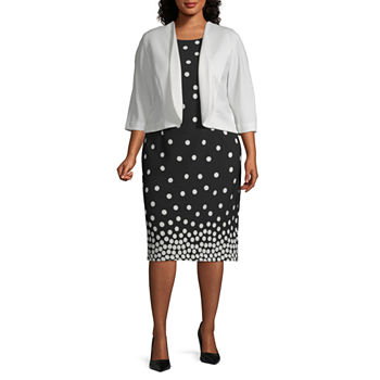 Maya Brooke-Plus 3/4 Sleeve Dot Print Jacket Dress