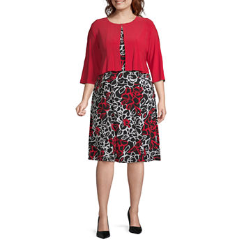 Danny & Nicole-Plus 3/4 Sleeve Floral Jacket Dress