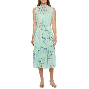 Emma And Michele Sleeveless Floral Midi Fit & Flare Dress