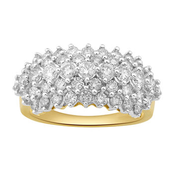 Womens 1 1/2 CT. T.W. Genuine Diamond 10K Gold Cluster Cocktail Ring