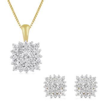 1 CT. T.W. Genuine Diamond 10K Gold 2-pc. Jewelry Set