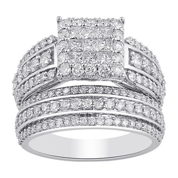 Womens 2 CT. T.W. Genuine White Diamond 10K White Gold Bridal Set