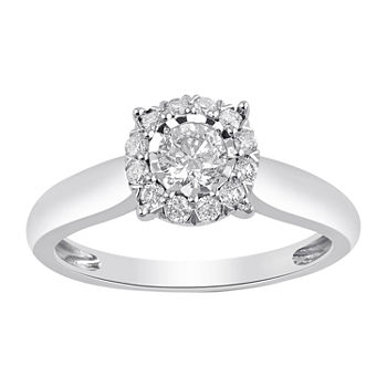 Womens 1/2 CT. T.W. Genuine White Diamond 10K White Gold Solitaire Engagement Ring