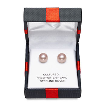 Limited Time Special!! Pink Cultured Freshwater Pearl Sterling Silver 9mm Stud Earrings