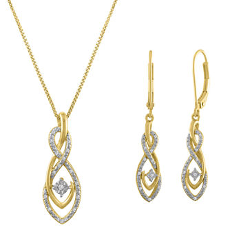 1/10 CT. T.W. Genuine White Diamond 14K Gold Over Silver Sterling Silver Jewelry Set