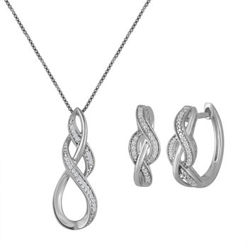 1/10 CT. T.W. Genuine White Diamond Sterling Silver 2-pc. Jewelry Set
