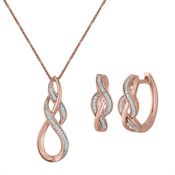 1/10 CT. T.W. Genuine White Diamond 14K Rose Gold Over Silver 2-pc. Jewelry Set