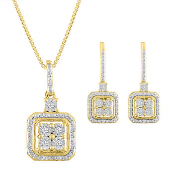Diamond Blossom 1/10 CT. T.W. Genuine White Diamond 14K Gold Over Silver Jewelry Set