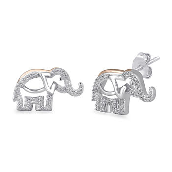 1/10 CT.T.W. Diamond Elephant Stud Earrings in Two Tone 14K Rose Gold Over Silver and Sterling Silver