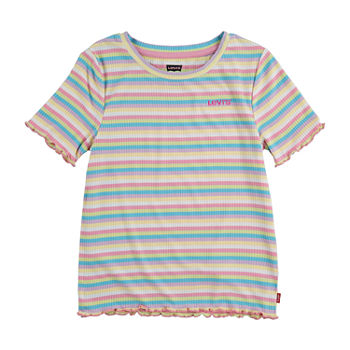 Levi's Ribbed Big Girls Crew Neck Short Sleeve T-Shirt