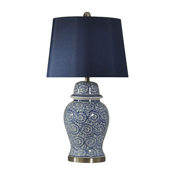 Stylecraft 17 W Blue Ivy Ceramic Table Lamp