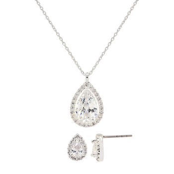 Sparkle Allure 2-pc. Cubic Zirconia Pure Silver Over Brass Pear Jewelry Set