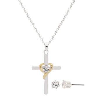 Sparkle Allure 2-pc. Cubic Zirconia Pure Silver Over Brass Cross Jewelry Set